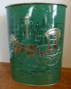 Haavell Vintage Metal Waste Basket Trash Can Horse And Buggy