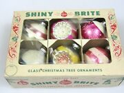 Lot 6 Vintage Mercury Glass Mica Indent Ball Christmas Ornaments Shiny Brite