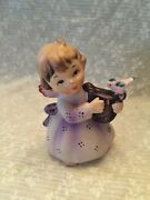 Figurine Lefton 143 Angel With Harp. Orchid Dress. Bird On Harp. No Chips Or Cra