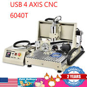 Usb 4 Axis Cnc 6040t Router Engraver Pcb Pvc Wood Drilling Milling Machine 1.5kw