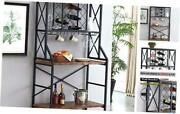 Baker Racks For Kitchen With Storage Shelves And Wine Rack, Industrial Metal