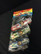 Vintage Lucky Toy Tin Race Cars 3 In Original Package Made In Japan Inv 1