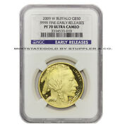 2009-w 50 Buffalo Ngc Pf70 Ucam Ultra Cameo Early Releases 1oz Gold Proof Coin