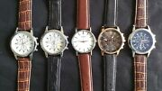 Set Of 5 New Menand039s Watches 10 Free Spare Batteries Lot 876012mm Watch