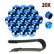 20 Pcs 17mm Blue Nut Cap Covers Wheel Bolts + Removal Tool For Bmw Mercedes