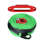 95and039 3/8 Synthetic Winch Recovery Rope 7/16 Rock Guard And 10 Red Hawse Fairlead