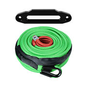 95and039 3/8 Green Synthetic Winch Rope Recovery 22000lb And 10 Black Hawse Fairlead