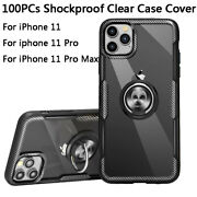 Wholesale 100pcs For Iphone 11 Pro Max Ring Stand Clear Shockproof Cover Case