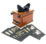 Antique French Wooden Handheld Stereo Viewer Stereoscope / C1910 By Unis And Cards