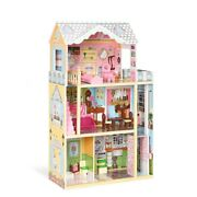 3 Story Big Wood Miniature Doll House Pretend Play Kitchen Bedroom Set Kids Toy