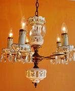 Antique Hand Painted Bohemian White Cut To Clear Glass And Crystals Chandelier