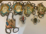 Lot Of 7 Angel / Santa/ Tree Reverent Tinsel And Paper Ornament. 1900s Germany