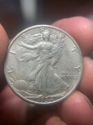 1934-s Walking Liberty Half Dollar. Au Condition. Solid Strike. Quality Luster.