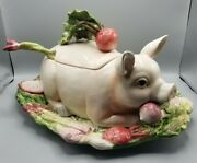 Fitz And Floyd Classics French Market Pig Soup Tureen Ladle And Underplate/platter