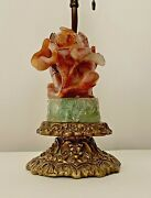 Antique Chinese Carnelian And Green Quartz Lamp - Ornate Brass Base   5d-a