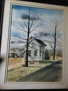 Watercolor Painting Of Old Bicycle Shop From 50's And 60's On Main St Groton Ma.