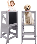 Dripex Kids Kitchen Step Stool Adjustable Height Wooden Standing Tower With Saf