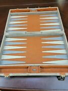 Hit Vintage Backgammon Game W Gray And Blue Bakelite Pieces In Case See Pictures