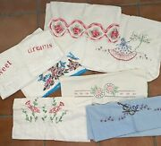 Lot Of 7 Vintage Single Pillowcases Embroidered Crochet Bird Violin Butterfly