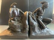 Antique Native American Indian Figural Pair Of Metal Bookends