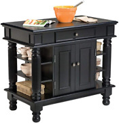 Americana Black Kitchen Island With Open Shelving By Home Styles