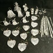 Lot Of 32 Vintage Clear Spun Glass Ornaments Icicle Heart Angel Drum Bells Doves