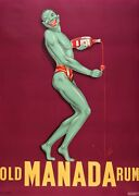Original Vintage French Poster Old Manada Rum Featuring Green Man C1930