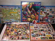 White Mountain Puzzle Lot Of 5 1000 + 550 Piece Puzzles Movies Stamps Balloons