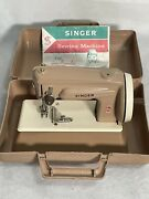 Vintage Childand039s Metal Toy Sewing Machine Singer With Carry Case Biege