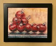 Christmas Balls 10x8 Original Oil Painting Signed Nyc Fountain Red Art Artist