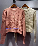 2021 Hollowed-out Crochet Knit Sweater Retro Bubble Sleeve Cardigan Woman