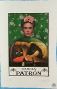 Frida Kahlo Tequila Patron Limited Edition 22and039x 15and039x Signed Fairchild Paris