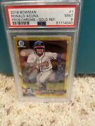 2018 Bowman Ronald Acuna Jr. Refractor Rc And039d 01/75 Psa 9 Braves--read