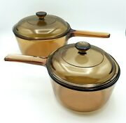 Corning Pyrex Vision 4 Pc Cookware 1.5 L And 1.0 L Amber Saucepan 2 Lids Vintage