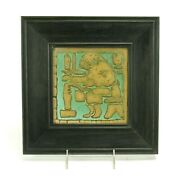 Grueby Pottery Faience 6x6 Potter Wool Spinner Tile Arts And Crafts Matte Green