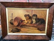 Sidney Lawrence Brackett 1852-1910 Puppies And Turtle Original Oil On Board