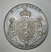 Norway 2 Kroner 1906 Almost Uncirculated Silver Coin - King Haakon Vii