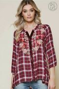 Andree By Unit Plaid Embroidered Plus Curvy Shirt - Wine 2x 3x