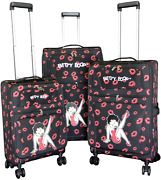 Betty Boop Luggage Set With Carry On Size. 20 24 28 3 Pieces A Set. Spinni