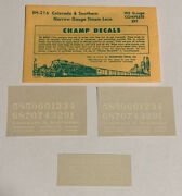 Champ Ho Decal - Colorado And Southern / Cands Hon3 Steam Loco-white Letter Eh-216