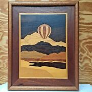 Jeffrey Alan Nelson Marquetry Wood Wall Art Hot Air Balloon Mountains Signed