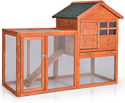 Tangkula Rabbit Hutch Indoor Outdoor Bunny Cage With Run Wooden Rabbit Cage Wi