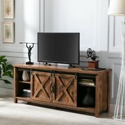 58 Farmhouse Tv Stand Storage Cabinet For Tvs Up To 65 Sliding Barn Door Shelf