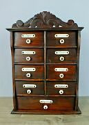 Victorian Antique Spice Cabinet W Porcelain Knobs And Labels Late 1800s