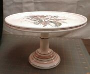 Antique Challinor Taylor Pedestal Cake Stand Milk Glass Floral And Red Black Rings