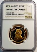 1982 Gold South Africa 1/2 Krugerrand Coin Ngc Proof 68 Ultra Cameo