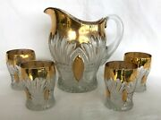An Early 20th C Heavy Eapg Heisey Glass Of Wales Pitcher And Four Tumblers