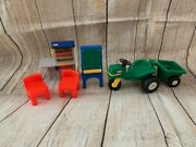 Little Tikes Miniature Toy Doll Size Lot Tractor Trailer Workshop Tool Art Easel
