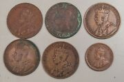 Lot 5x F/vf Canada Large Cent Coins And 1 Small - 1894 1912 1913 1917 1920 1932