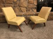 Pair Of Kids Childs Vintage Mid Century Modern Yellow Vinyl Lounge Chairs